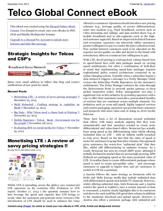 December 31st, 2013  Published by: sadiqmalik1  Telco Global Connect eBook This eBook was created using the Zinepal Online...