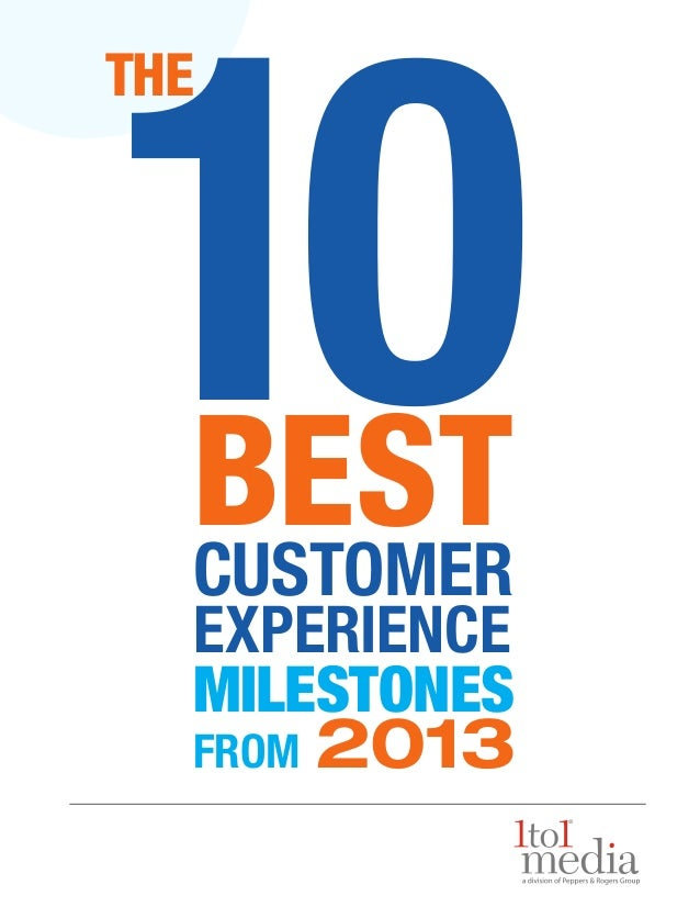 10  THE  BEST CUSTOMER  EXPERIENCE MILESTONES FROM  2013