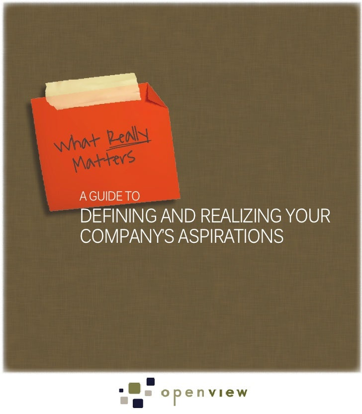 Wh at Really Matters   A GUIDE TO   DEFINING AND REALIZING YOUR   COMPANY'S ASPIRATIONS