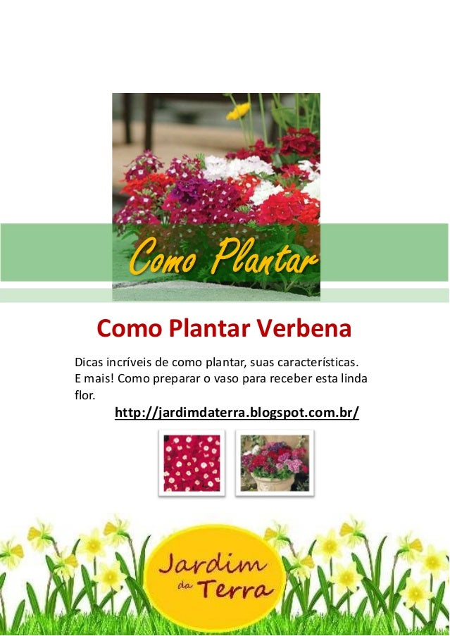 Como Plantar Verbena http://jardimdaterra.blogspot.com.br/ Como Plantar Verbena Dicas incríveis de como plantar, suas cara...