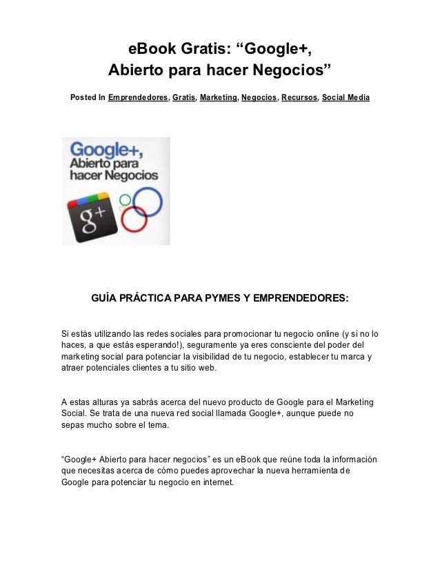 """eBook Gratis: """"Google+,            Abierto para hacer Negocios""""  Posted In Emprendedores, Gratis, Marketing, Negocios, Rec..."""