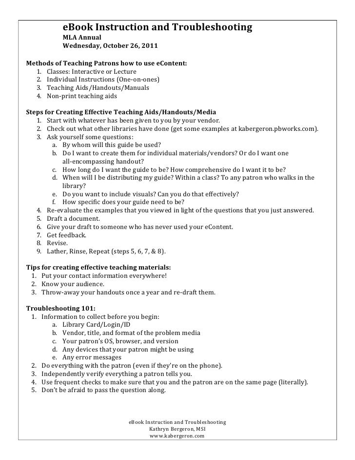 eBook	  Instruction	  and	  Troubleshooting	                           MLA	  Annual	                           Wednesday,	...