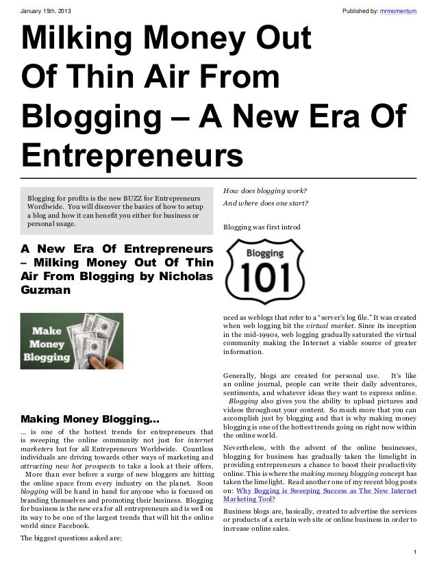 """Ebook Milking Money Out Of Thin Air From Blogging - """"A New Era Of Entrepreneurs"""""""