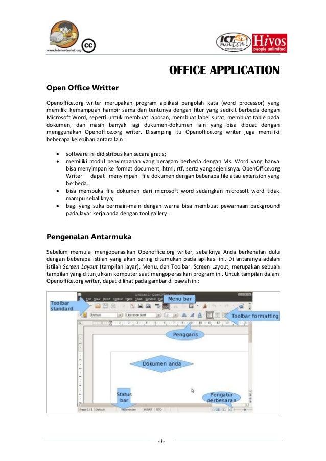 OFFICE APPLICATIONOpen Office WritterOpenoffice.org writer merupakan program aplikasi pengolah kata (word processor) yangm...
