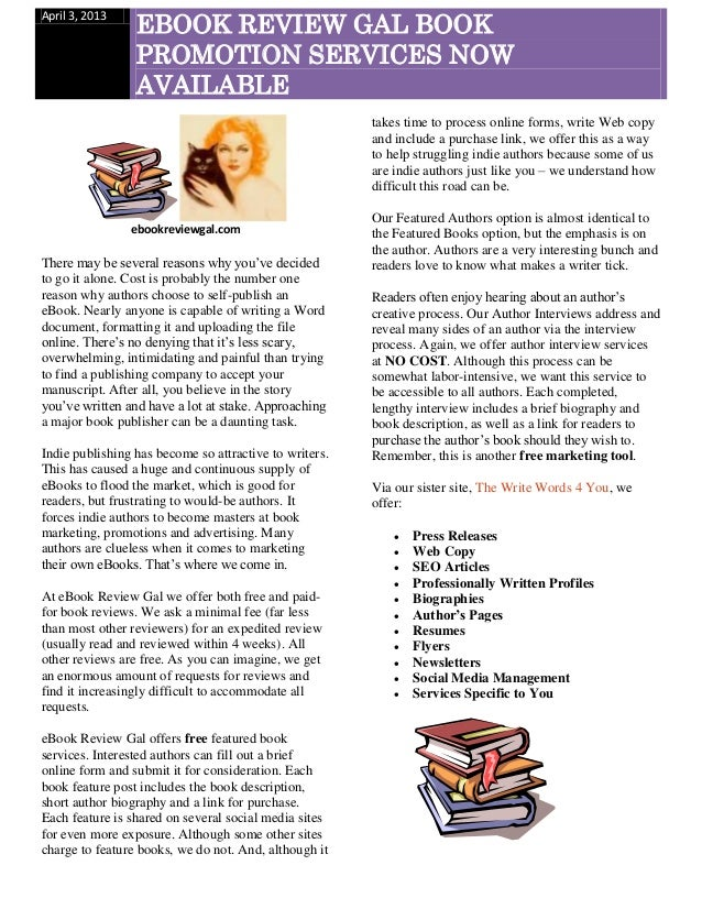 EBOOK REVIEW GAL BOOKApril 3, 2013                 PROMOTION SERVICES NOW                 AVAILABLE                       ...