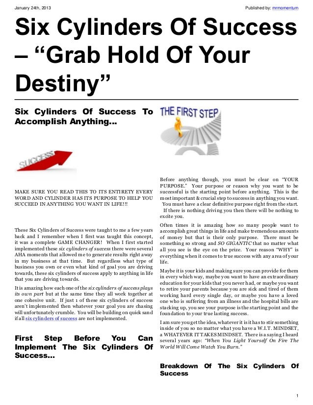 """Six Cylinders Of Success – """"Grab Hold Of Your Destiny"""""""