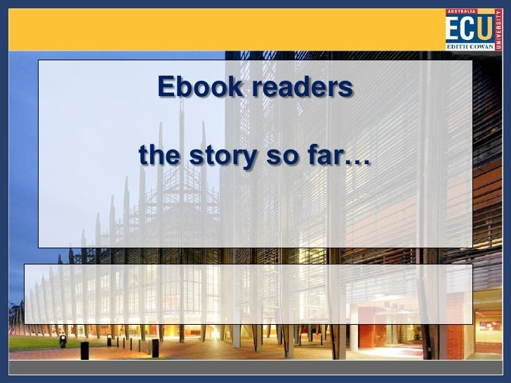Ebook readers  the story so far…