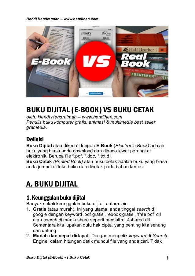 Buku Elektronik (E-book) vs Buku Cetak (Real Book)