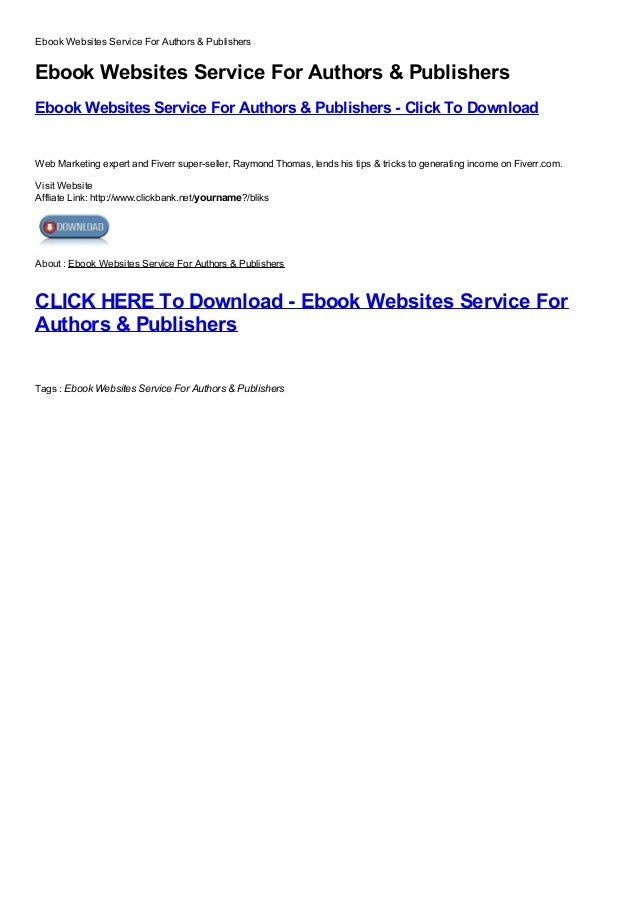 Ebook websites service for authors  publishers