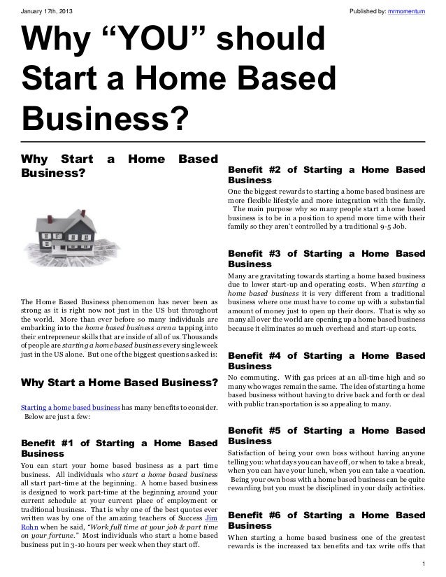 "Why ""YOU"" should Start a Home Based Business?"