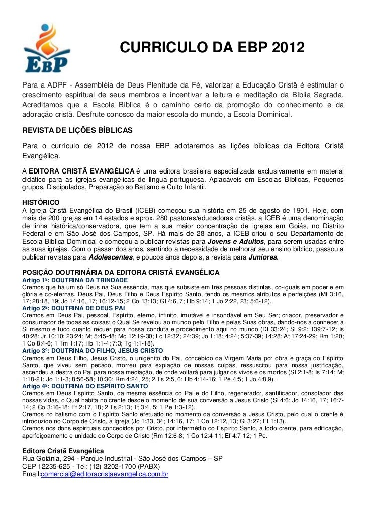 CURRICULO DA EBD 2012 - Completo
