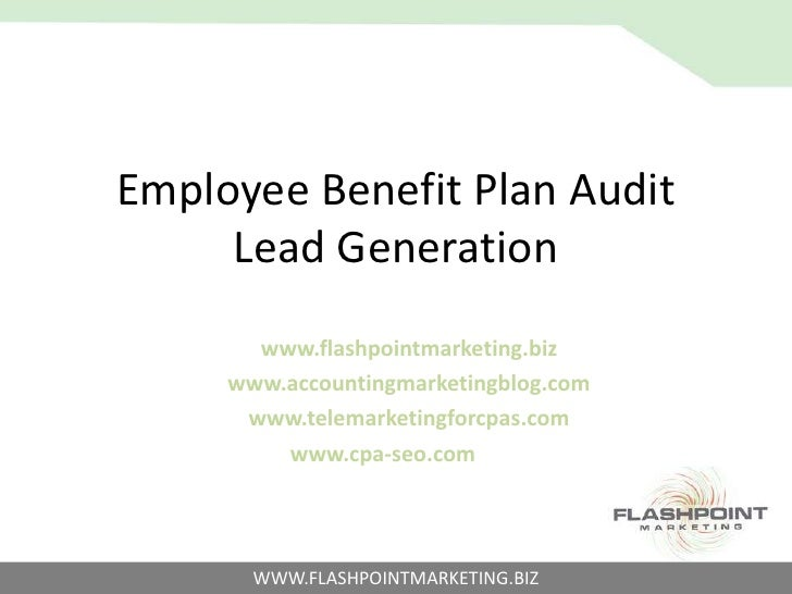 Employee Benefit Plan Audit Lead Generation<br />www.flashpointmarketing.biz<br />www.accountingmarketingblog.com<br />www...