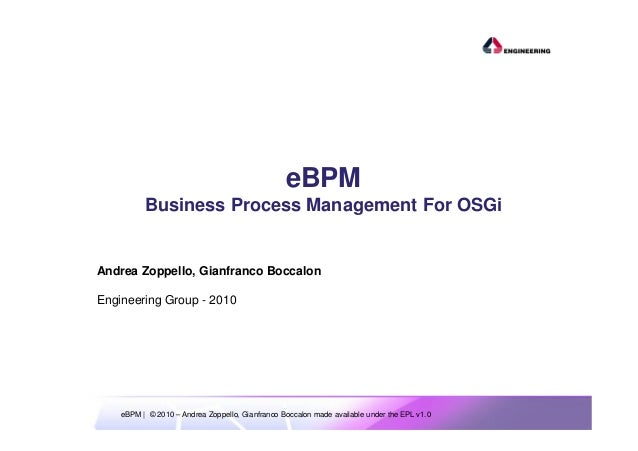 ESE 2010 - eBPM - Business Process Management for OSGi