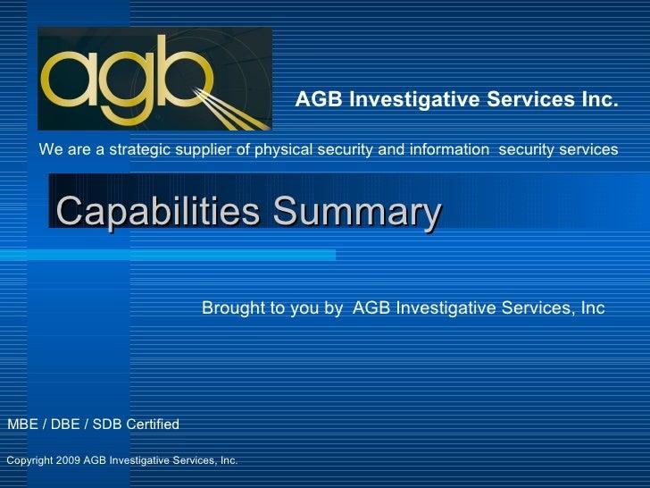 AGB INVESTIGATIVE SERVICES, INCORPORATED :: OpenCorporates