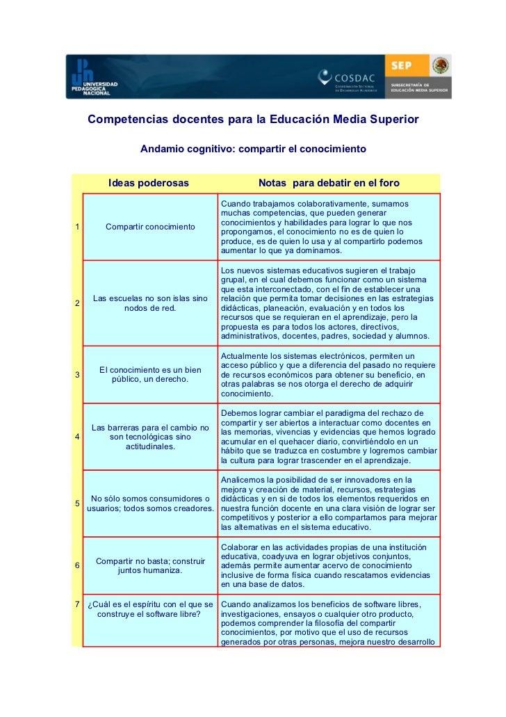 Competencias docentes para la Educación Media Superior                Andamio cognitivo: compartir el conocimiento        ...