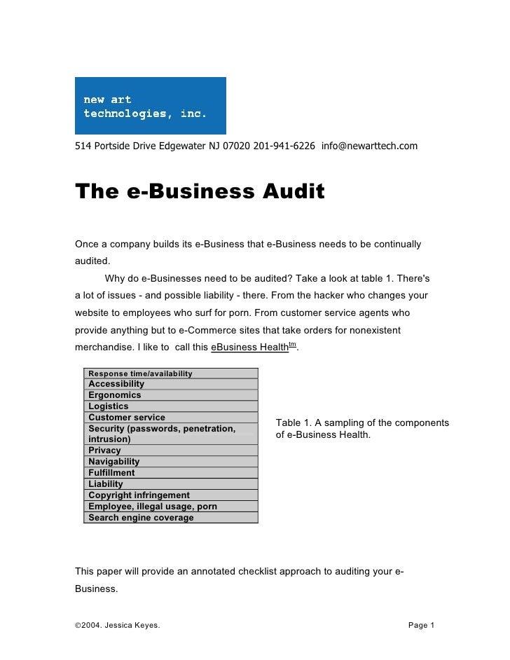 514 Portside Drive Edgewater NJ 07020 201-941-6226 info@newarttech.com    The e-Business Audit  Once a company builds its ...