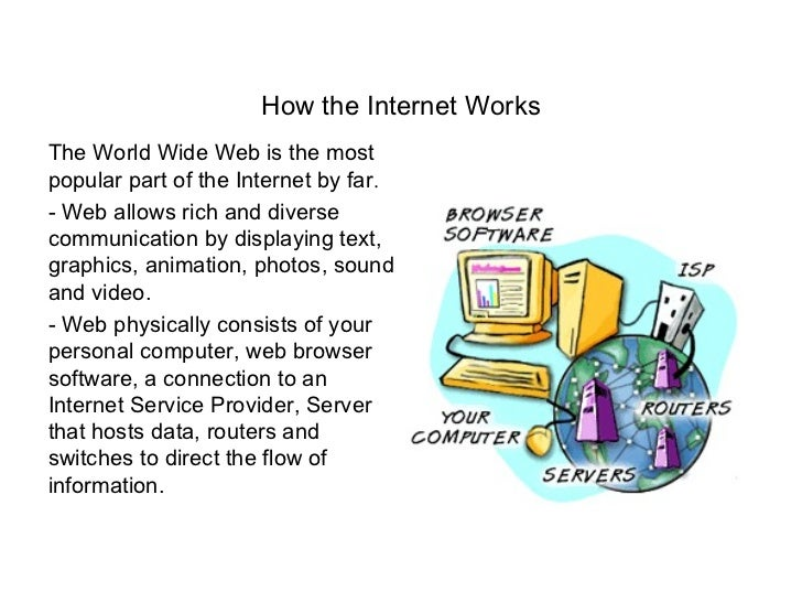 How the Internet WorksThe World Wide Web is the mostpopular part of the Internet by far.- Web allows rich and diversecommu...