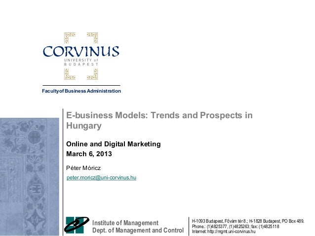 E-business Models: Trends and Prospects in Hungary