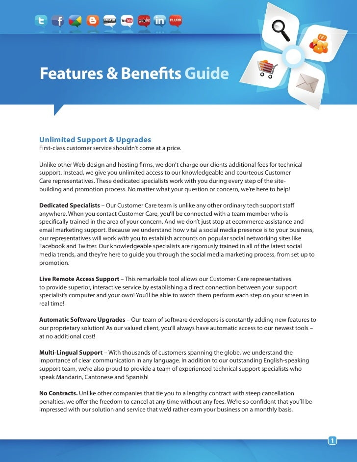 Features & Benefits GuideUnlimited Support & UpgradesFirst-class customer service shouldn't come at a price.Unlike other W...