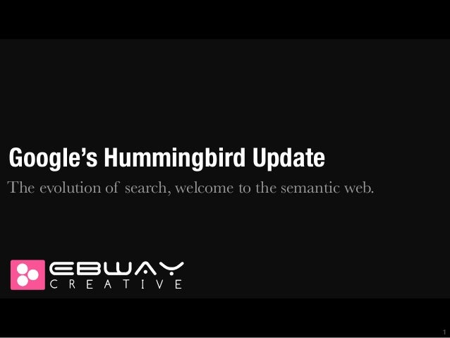 Google's Hummingbird Update The evolution of search, welcome to the semantic web.  1