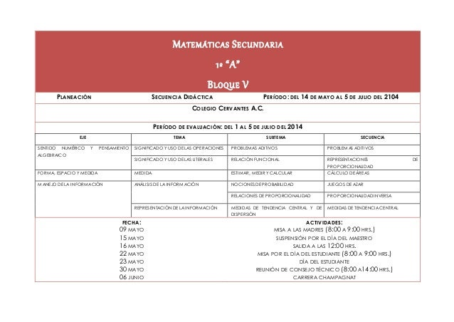 """MATEMÁTICAS SECUNDARIA 1º """"A"""" BLOQUE V PLANEACIÓN SECUENCIA DIDÁCTICA PERÍODO: DEL 14 DE MAYO AL 5 DE JULIO DEL 2104 COLEG..."""