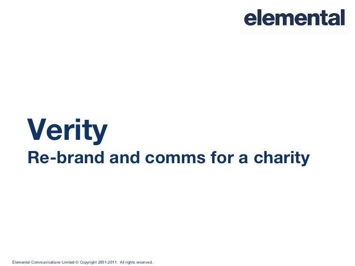 Verity Re-brand and comms for a charity