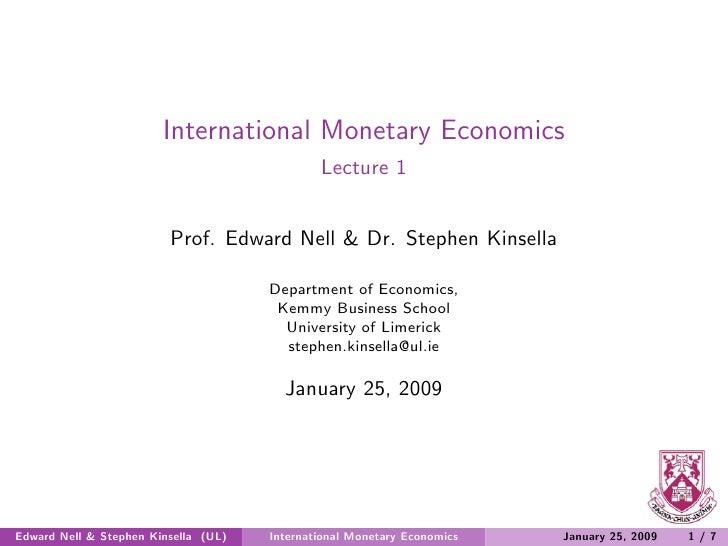 International Monetary Economics                                               Lecture 1                            Prof. ...