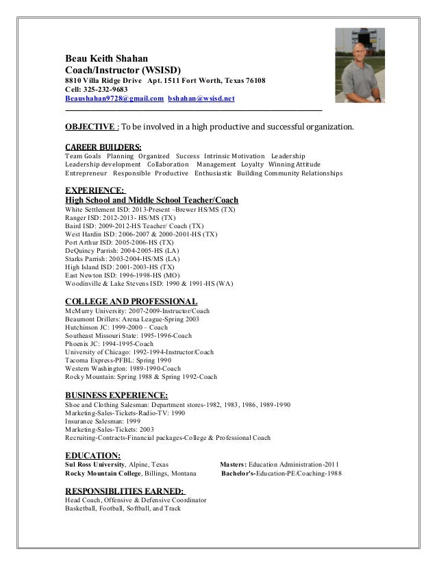 Football coach resume example