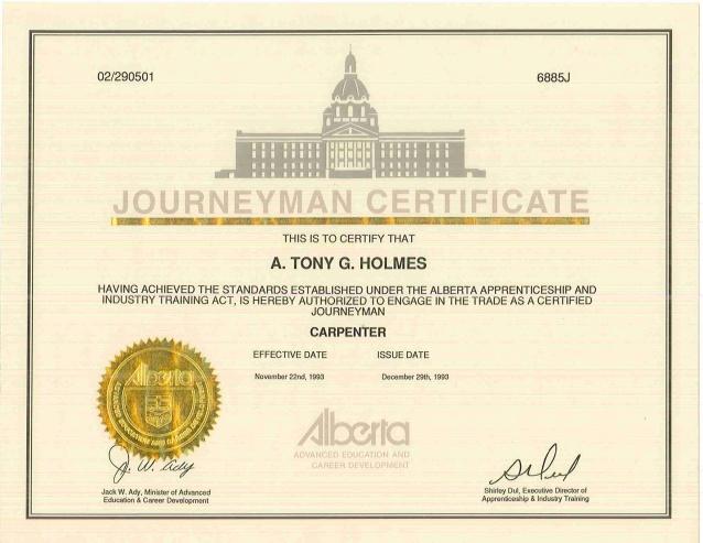 journeyman carpenter certification 1