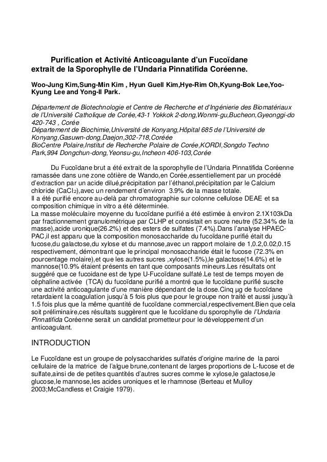 Purification et Activité Anticoagulante d'un Fucoïdane extrait de la Sporophylle de l'Undaria Pinnatifida Coréenne. Woo-Ju...
