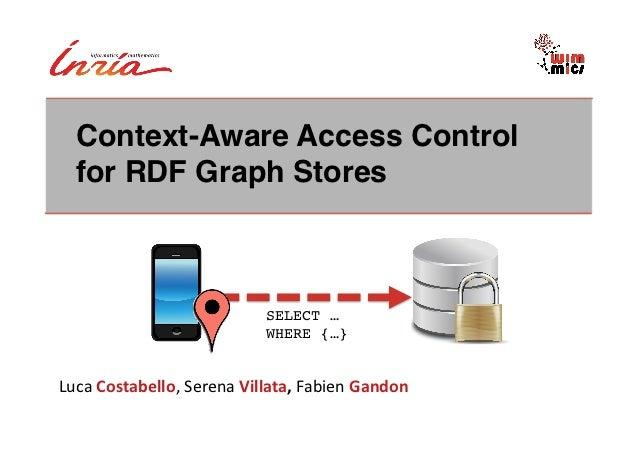 Context-Aware Access Control   for RDF Graph Stores!                                      SELECT … !                      ...