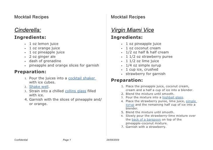 Mocktail Recipes                                            Mocktail Recipes  Cinderella:                                 ...