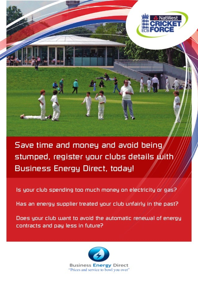 Save time and money and avoid being stumped, register your clubs details with Business Energy Direct, today! Is your club ...