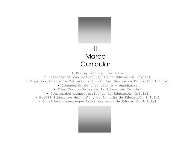 II Marco Curricular Concepción de currículo Características del currículo de Educación Inicial Organización de la Estructu...