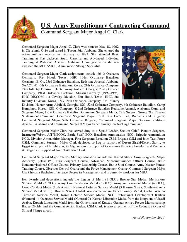 U.S. Army Expeditionary Contracting Command Command Sergeant Major Angel C. Clark Command Sergeant Major Angel C. Clark wa...
