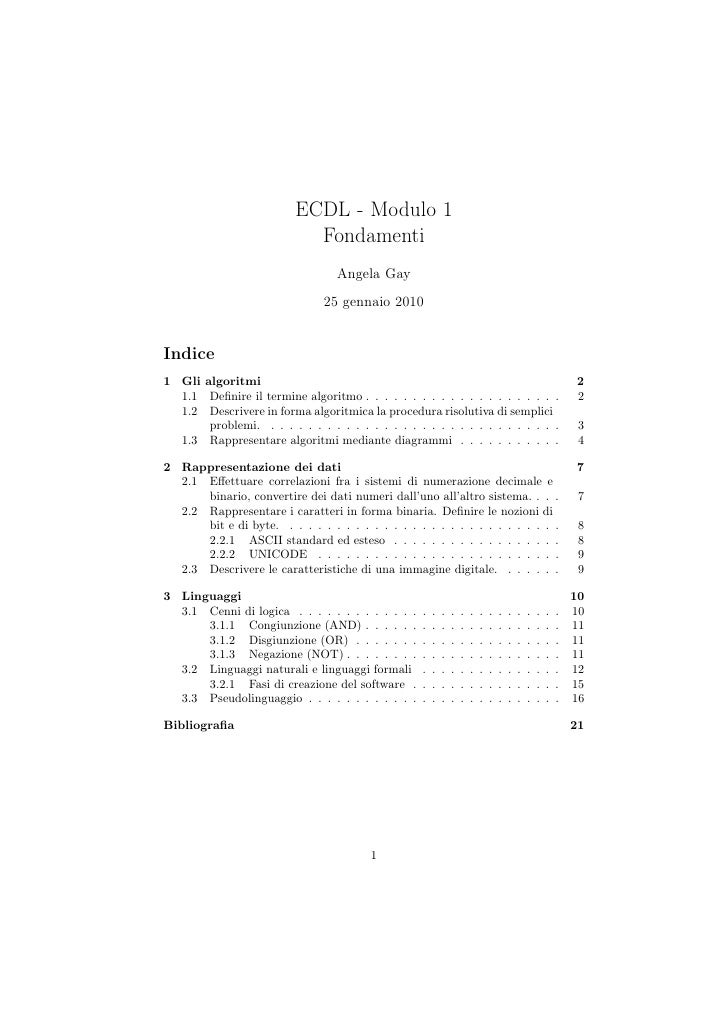 Ecdl modulo 1 -Fondamenti