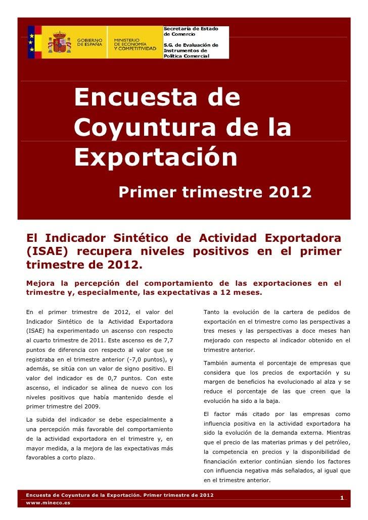 Encuesta de Coyuntura de la Exportación del Ministerio de Economía y Competitividad