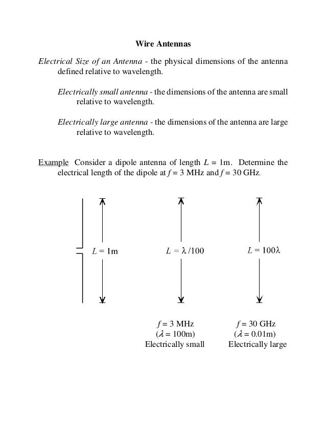 Wire AntennasElectrical Size of an Antenna - the physical dimensions of the antenna     defined relative to wavelength.   ...