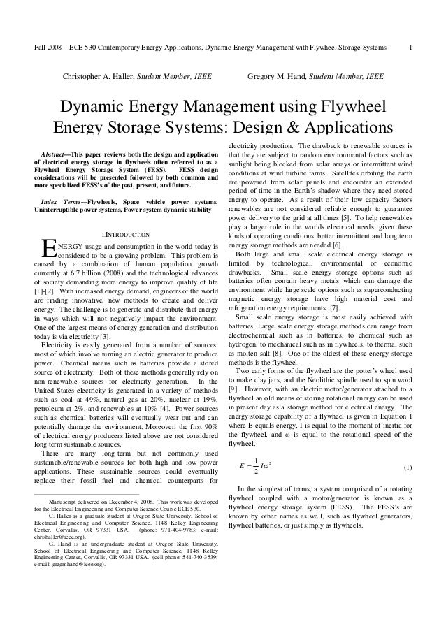 Fall 2008 – ECE 530 Contemporary Energy Applications, Dynamic Energy Management with Flywheel Storage Systems             ...