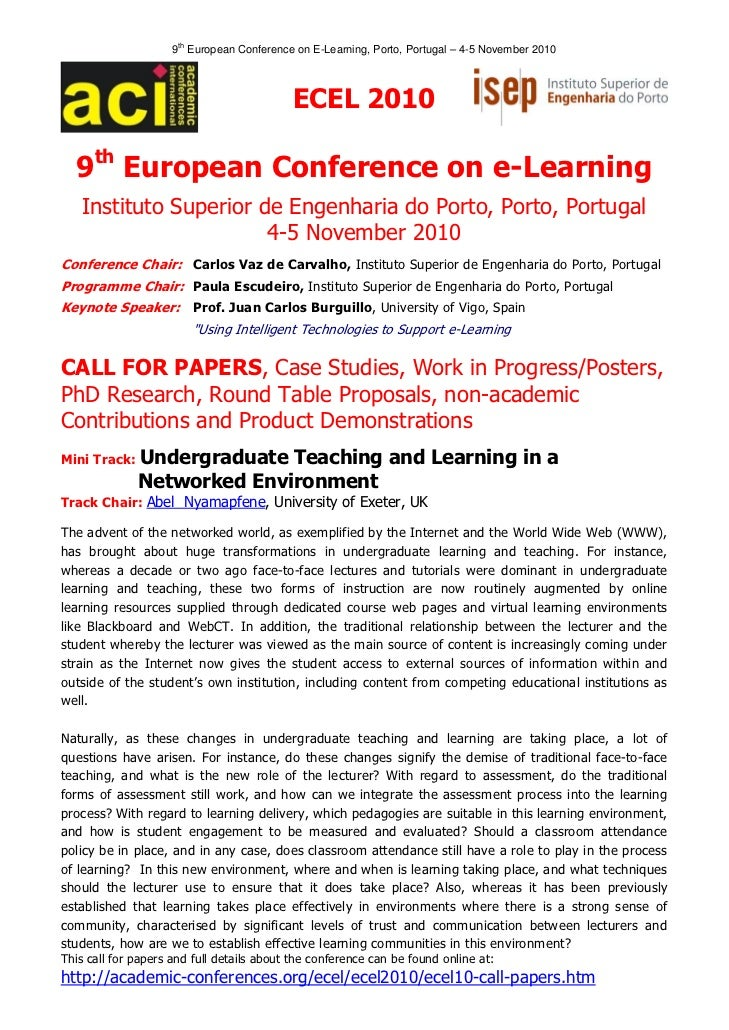 9th European Conference on E-Learning, Porto, Portugal – 4-5 November 2010                                            ECE...