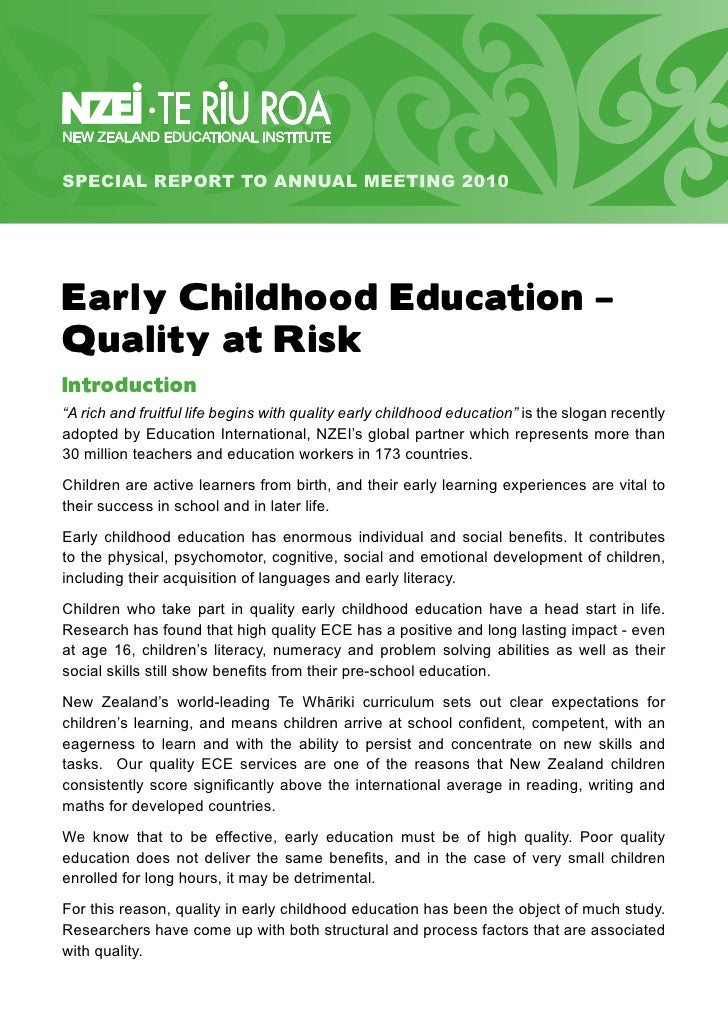 """SPECIAL REPORT TO ANNUAL MEETING 2010     Early Childhood Education – Quality at Risk Introduction """"A rich and fruitful li..."""