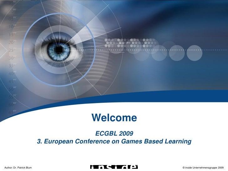 ECGBL 2009                                                Welcome                                              ECGBL 2009 ...