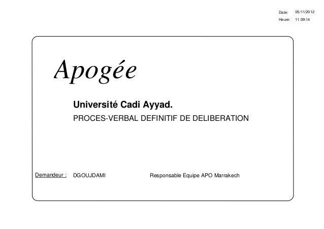 Date:    05/11/2012                                                                  Heure:   11:39:14      Apogée        ...