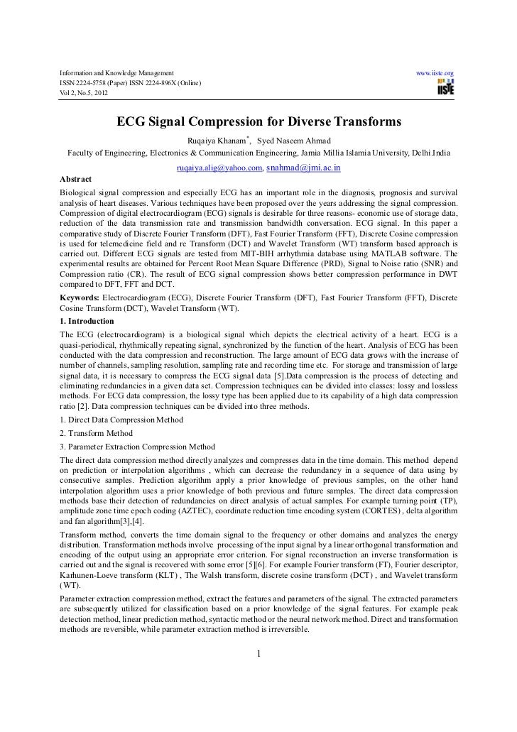 Ecg signal compression for diverse transforms