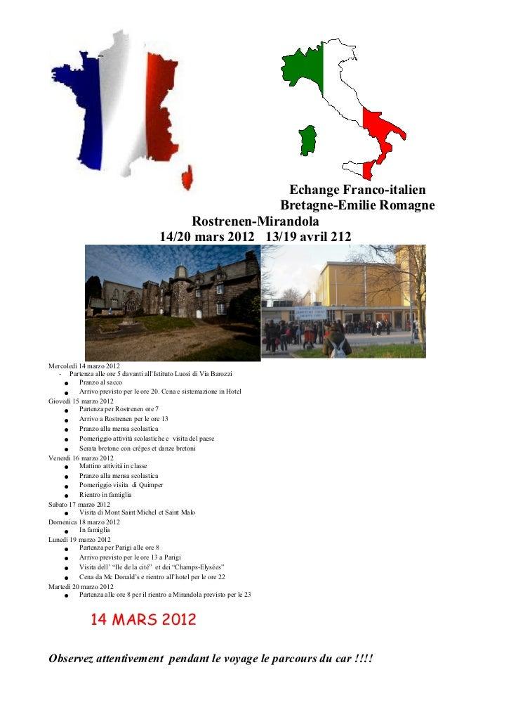 Echange Franco-italien                                                         Bretagne-Emilie Romagne                    ...