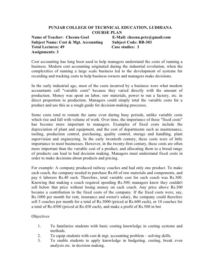 PUNJAB COLLEGE OF TECHNICAL EDUCATION, LUDHIANA                               COURSE PLAN Name of Teacher: Cheenu Goel    ...