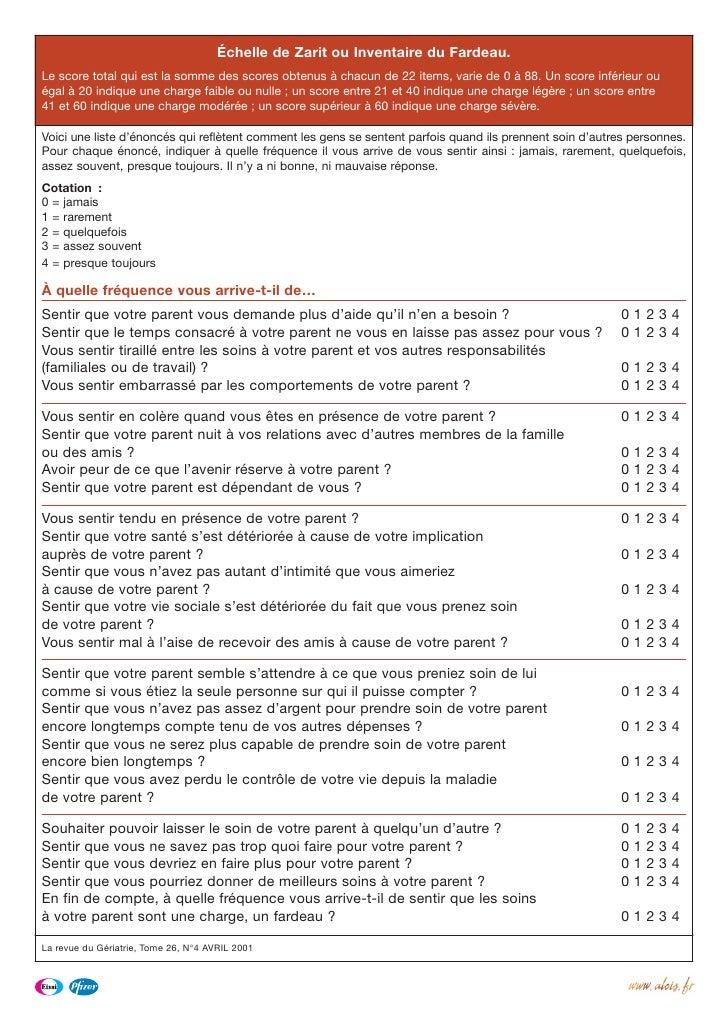 Échelle de Zarit ou Inventaire du Fardeau. Le score total qui est la somme des scores obtenus à chacun de 22 items, varie ...