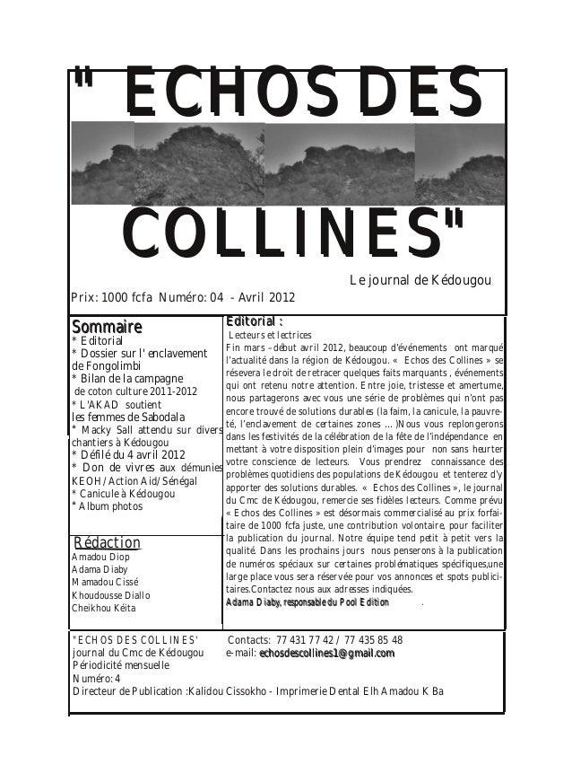 """"""""""" EECCHHOOSS DDEESS CCOOLLLLIINNEESS"""""""" SSoommmmaaiirree * Editorial * Dossier sur l' enclavement de Fongolimbi * Bilan de..."""