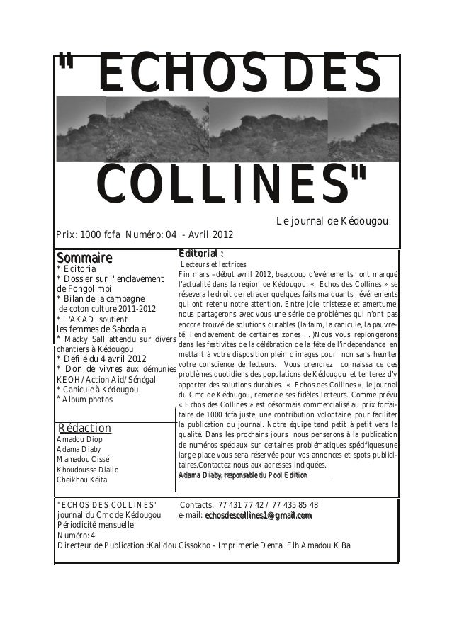 Echos des collines avril 2012