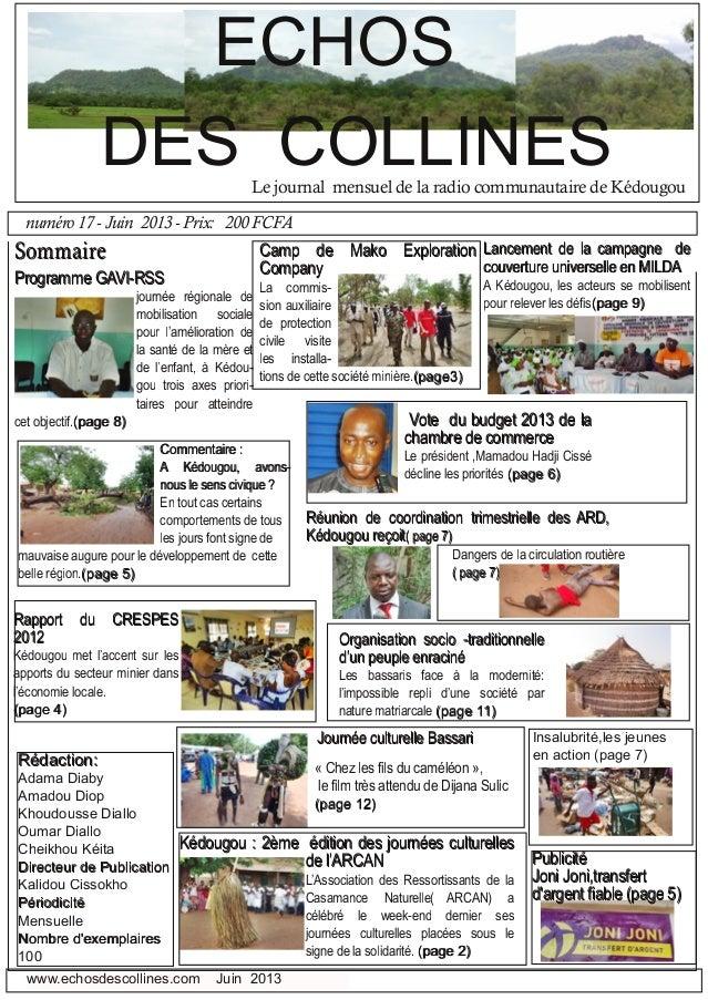 www.echosdescollines.com Juin 2013 numéro 17  Juin 2013  Prix: 200 FCFA Le journal mensuel de la radio communautaire de ...